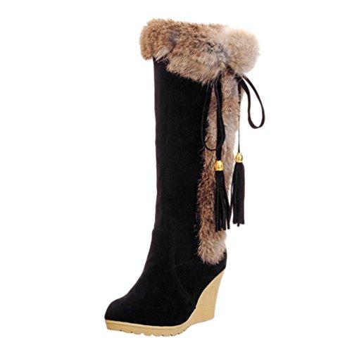 Yiiquan Damen Warme Stiefel Mittlere Höhe mit Dicken Gefüttert Keilabsatz Kunstpelz Schneeschuhe (Schwarz, 38 EU)