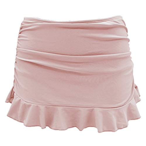 SHEKINI Damen Badebekleidung Badeanzug Rock gebaut in Bikini Bottom Baderock Schwimmrock Bikini mit Hotpants(Depp Taupe,XL)
