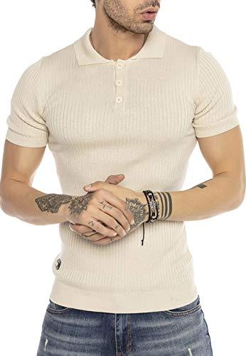 Herren T-Shirt Polo Shirt Casual Vintage Retro Style Kurzarm Strick Gerippt Beige M