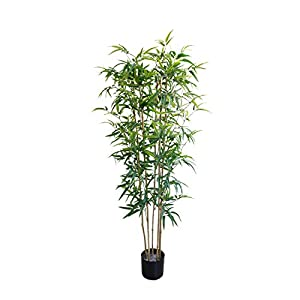 4.9 Foot Artificial Bamboo Trees Fake Tropical Palm Tree Modern Decoration Feaux Plants in Pot for Home Office 59 Inch