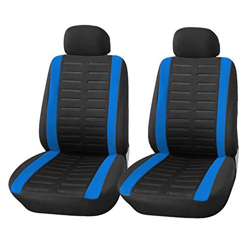 Upgrade4cars Auto-Sitzbezüge Vordersitze Schwarz Blau | Auto-Sitzschoner Set Universal für Fahrersitz & Beifahrer | Auto-Zubehör Innenraum