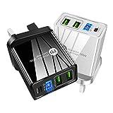 PD20W QC3.0 - Cargador de viaje con doble puerto USB (2,4 A, con luz LED, carga rápida, compatible con smartphones (A)