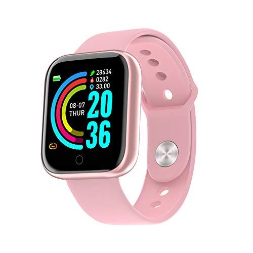 Reloj inteligente para hombre y mujer, con Bluetooth, impermeable, con presión de fitness, monitor de ritmo cardíaco, Y68 (oro rosa)