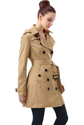 BGSD Women's Leah Hooded Mid Length Trench Coat - Tan M