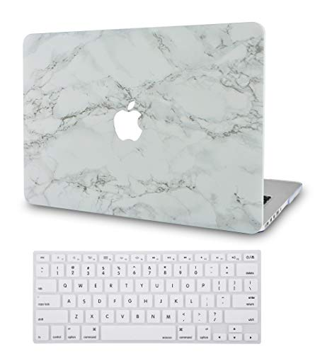 LuvCase 2in1LaptopCasewithKeyboardCover for Mac Air 13 Inch(2020/19/18Release) New Version A1932 w Retina Display(Touch ID)RubberizedPlasticHardShellCover(White Marble with Grey Veins)