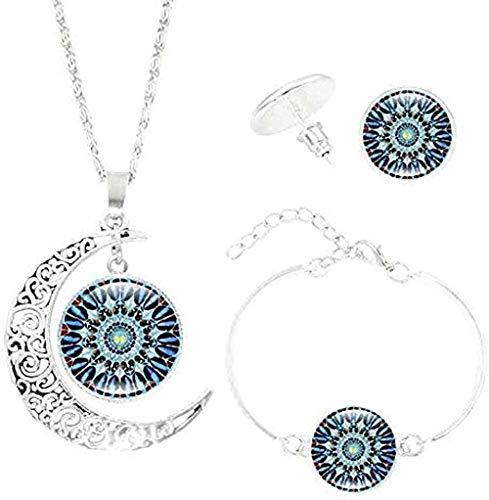 Liuqingzhou Co.,ltd Collar con Forma de Luna Gema del Tiempo Colgante de Mandala Collar Pulsera Pendientes s Yoga joyería Vintage s para Mujeres Hombres Regalos