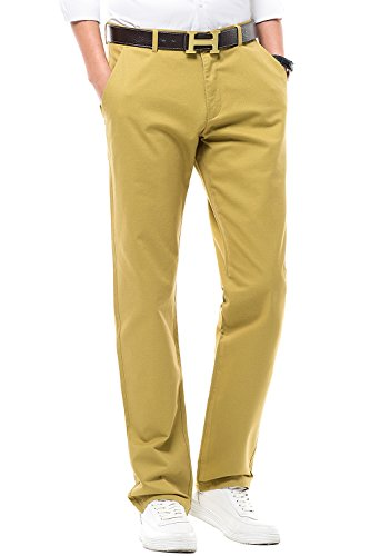 INFLATION Men's Stretchy Straight Fit Casual Pants, Blend Combed Cotton Flat Front Formal Trousers Dress Pants Yellow
