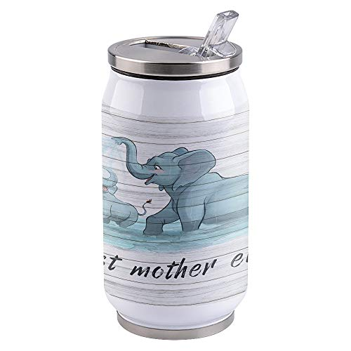 Vacuum Insulated Water Bottle Lovely Elephant, Best Mother Ever Double Wall Stainless Steel Commuter Water Bottle Leak Proof Wide Mouth Durable Portable Kids Cup, 15oz