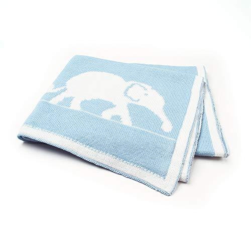 Four Seasons Couvertures Dessin Animé Couvertures De Tricot D'éléphant Pour Les Enfants Nouveau-Né Poussette Sur La Couverture De Couvertures Est De 95 * 75 Cm,Bleu