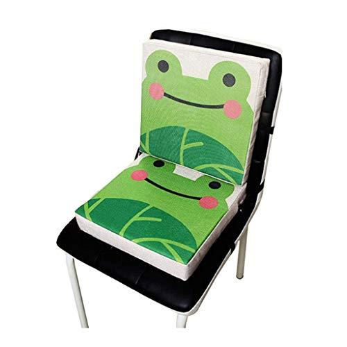 Manyao Set mit 2 Sitzerhöhungen für Kinderstuhl, Hochstuhl, quadratisch, Sitzerhöhung, Kinderstuhlkissen, verstellbar & waschbar, mit Gurten (Frosch)