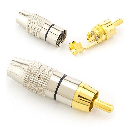 zanasta® 2X hochwertiger Premium Cinch Stecker Audio (schraubbar und zum löten) vergoldete Kontakte | Schwarz