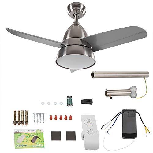 Hyjgjzjh Lights & Remote Control Ventilador de techo de 3 aspas de níquel arena 91,44 cm ventilador de techo blanco frío cambiante