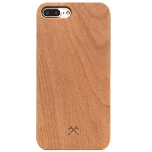 Woodcessories – Carcasa, Funda Compatible con iPhone 7 Plus / 8 Plus, de Madera Real, EcoCase Classic (Cerezo/Negro)