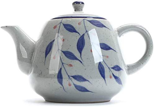 GAOYINMEI Tetera Retro Pintada a Mano de Porcelana Azul y Blanca de la Tetera con Mango 1yess 900ml