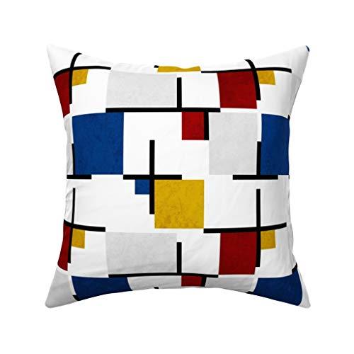 MrRui Bauhaus Mies-Mondrian Kissenbezug 45,7 x 45,7 cm Baumwolle Home Deko quadratisch für Sofa Überwurf Kissenbezug 45 x 45 cm, Baumwolle, einfarbig, 50 x 50 cm