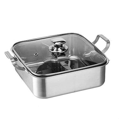 XJIANQI Hot Pot Cooker, Fondue, Cuisine Casserole Soupe De Cuisson D'outils, 2 Grille 2 Goût Épais Chaud en Acier Inoxydable Pot avec Verre Couvercle pour Home & Party (30cm