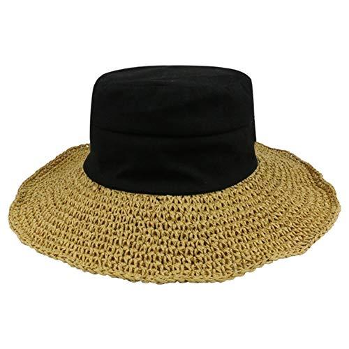 JINRONG Oído Sra Coreana Bosque Fantástico Sombrero del Sombrero del Ganchillo Fuera De La Cortina De Sun del Sombrero (Color : Black)