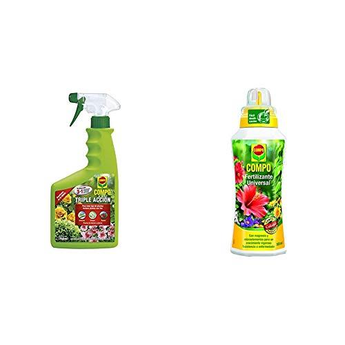 Compo Triple Acción Protección contra Insectos, Hongos y ácaros, para Plantas de Interior y Exterior, 750 ml + calidad para plantas ornamentales de interior o terraza, 500 ml