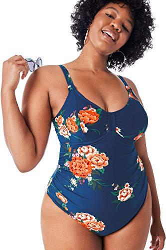 CUPSHE Women's One Piece Plus Size Swimsuit Floral Print Cutout Bathing Suit, 1X Deep Blue