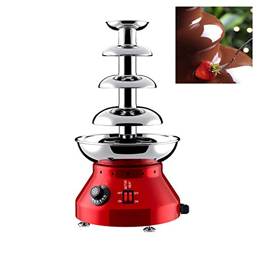 4-Tier Chocolate Fondue Fountain Machine 1.8L Easy To Assemble Commercial Chocolate Fountain for Party Wedding Restaurant, 30℃~110℃ Adjustable, Red