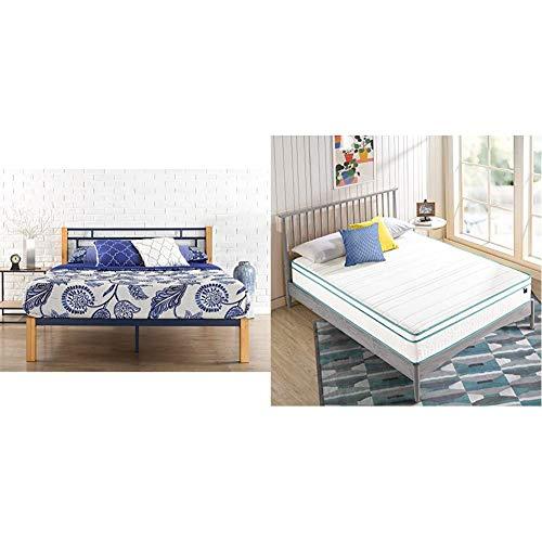 Zinus Taylan Metal and Wood Platform Bed with ZINUS 10 Inch Memory Foam Spring Hybrid Mattress