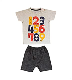 Jockey Printed Snap-Closure Short-Sleeve T-shirt with Elastic-Waist Shorts Pajama Set for Boys 9-12 Months