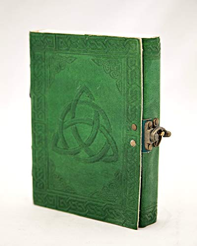 Leather Journal Triquetra Writing Notebook Celtic Travel Journal Leather Notebook Art Sketchbook Green 5 x 7 inches