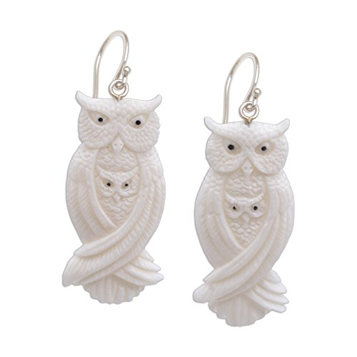 NOVICA Mother and Child .925 Sterling Silver Hand Carved Bone Dangle Earrings, Owl Bond'