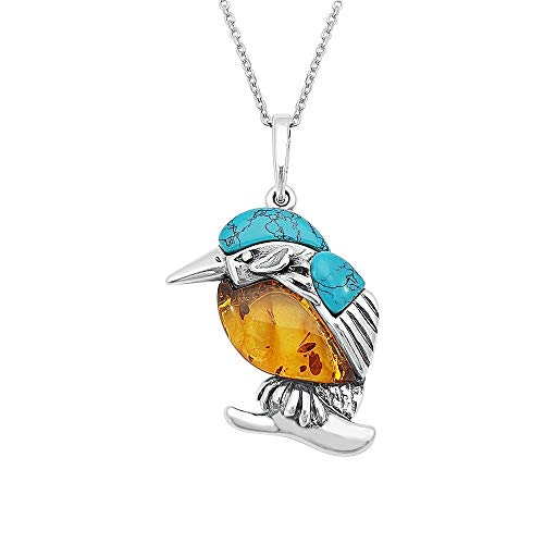 Kiara Jewellery Sterling Silver Multicolour Kingfisher Bird Pendant Necklace Inset With Baltic Amber And Turquoise on 18' Sterling Silver Trace Chain