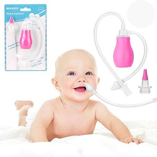 Baby Nasensauger WADEO inklusive Pipette und zusätzlichem Schlauch-Aufsatz zum Saugen mit dem Mund und zum Pumpen für Babys Nase geeignet (Rosa)