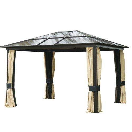 Outsunny Carpa Cenador para Jardín Gazebo Exterior para Evento Estable Anti-UV Techo Policarbonato 4 Paravientos Mosquitera Integrada Aleación de Aluminio 300x360x265 cm