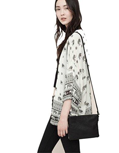 Vrouwen Olifant Gedrukt Halve Mouw Kimono Vest Jas Tops Blouse Cover up, HOMEBABY