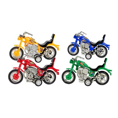 Toyvian Mini Moto de Juguete Modelo de Moto de Tierra Juguete de Moto con Motor de fricción inercial para vehículos de niños favores de Fiesta 4 Piezas (Color Mixto)