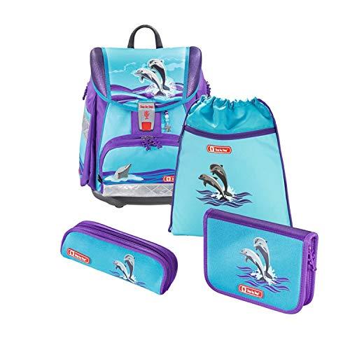 """Step by Step Schulranzen-Set Touch 2 """"Happy Dolphins"""" 4-teilig, lila-blau, Traktoren-Design, ergonomischer Tornister mit Reflektoren, höhenverstellbar für Mädchen 1. Klasse, 21L"""
