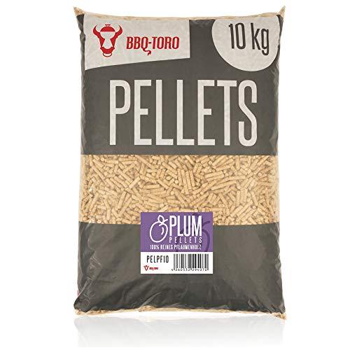 BBQ-Toro Plum Pellets aus 100% Pflaumenholz (10 kg) | Pflaumenpellets für Grill, Smoker, Pellet-Pizzaofen und Heizungsanlagen | Grillpellets