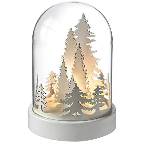 WeRChristmas Bäume Bell Jar Warm LED Weihnachten Dekoration, Holz, 19cm–weiß