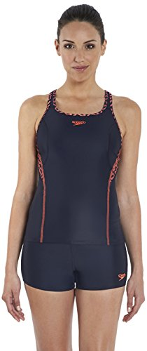 Speedo Damen Tankini Spdfit Tki AF, Navy/Red, 36