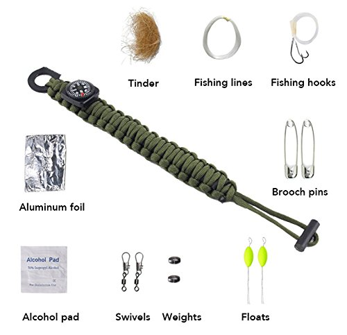 ZENDY 13 en 1 / Corde New Paracord Multi Fonction kit de Survie en Plein air (7 brins Cordon) (Vert Camouflage)