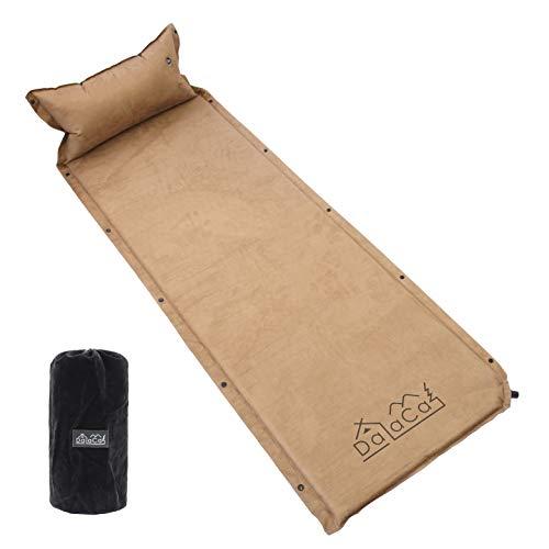 DaLaCa エアーマット スエード素材 ウレタン入り 自動膨張 キャンプ 車中泊 防災 軽量 185cm×60cm (ブラウン)