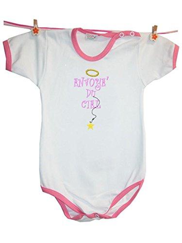 Zigozago - Body Bèbè à Manches Courtes pour bébé avec Broderie ENVOYE' du Ciel Taille: 9 Mois - Couleur: Rose - 100% Coton