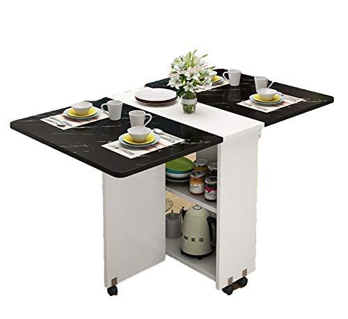 JIADUOBAO Mesa de comedor plegable de madera moderna y sencilla para el hogar, multifuncional, para sala de estar, cocina, mesa de almacenamiento extraíble (color: blanco y negro, tamaño: 140 cm)
