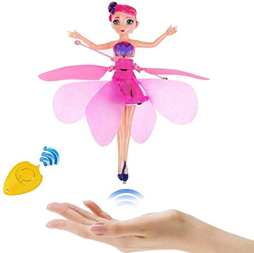 Flying Fairy Girls Toy Doll Pink Magical Wings,Magic Infrared Induction Control Xmas Gift - Crystal Flyers Pink Magical Flying Pixie Toy Best Gift for Kids Toy Birthday Present (Pink)