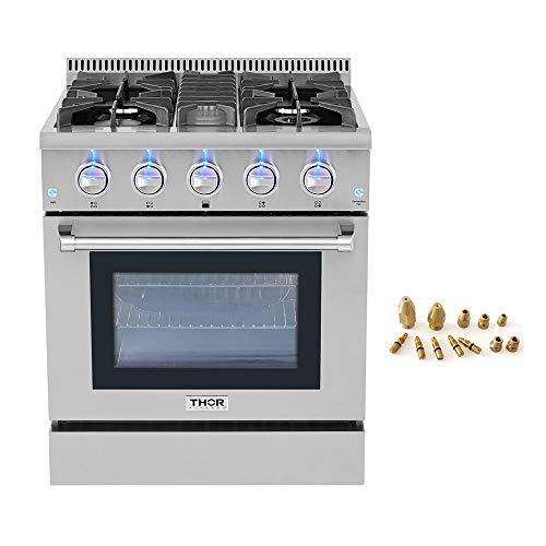 30' Thor Kitchen Free Standing&Slide- in Gas Range 4 Burners 4.2cu.ft Oven Propane/NG With HRG3080U (HRG3080U+LP Kit HRG3080U)