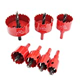 Laiwei Bi-Metal Hole Saw Kit, 7 Pcs 7/8' to 2-1/2' General Purpose Hole Saw Drill Bits, HSS Hole Cutter with Arbor for Wood, Plastic, Drywall, Soft Metal