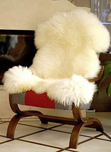 Pioniers Verkauf XXL Natur Schaffell Lammfell Teppich Sitzfell pflanzlich gegerbt Ideal als Deko für Ihr Zuhause 120-130 cm naturweiss/beige