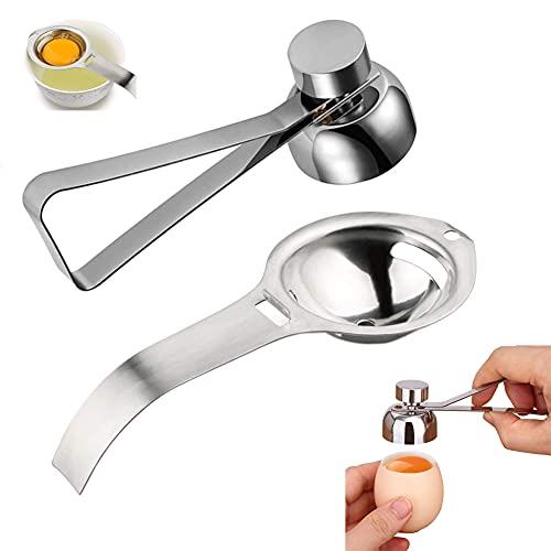 Steel Egg Shell-Öffner Eieröffner Stainless, Eiweißabscheider, Edelstahl-Eierschneider, Einfaches Küchenwerkzeug für Hart Gekochte Eier (Silber)