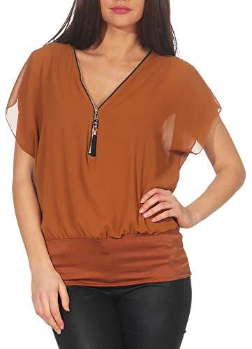 malito dames korte mouw in vleermuis Look | Tuniek met Zipper | T-shirt met breed boord | Shirt - elegant 6298