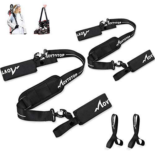 MOVTOTOP Ski Straps for Carrying,2 Packs Adjustable Ski Carrier with Ski Boot Carrier Straps,Ski Strap and Pole Carrier with Cushioned Shoulder Pad,Great for Families - Men, Women and Kids (Black)