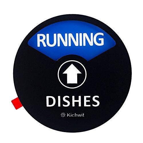 Kichwit Clean Schmutziger Geschirrspüler Magnet mit der 3. Option laufend, perfekt für leisen Geschirrspüler, Kratzfeste Starke Magnet-Rückseite & rückstandsfreie Kleber, 8,9 cm Durchmesser schwarz