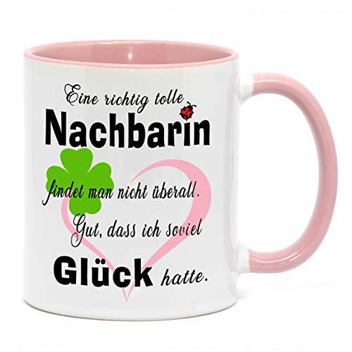 Nice-Presents-de Tasse Tolle Nachbarin Tasse mit Herz zu jedem Anlass für eine Gute Nachbarschaft. Da freut Sich Jede Freundin, Nachbarin, oder Kollegin (Rosa)